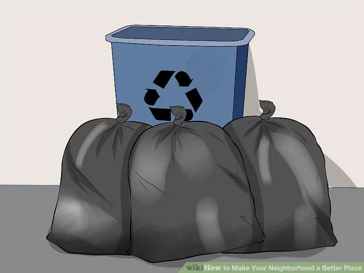 قراز دادن سطل زباله در حیاط